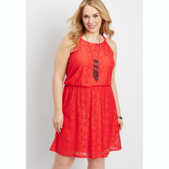 Maurices Plus Size Floral Red Lace Dress